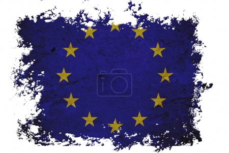 EU flag on old vintage paper in isolated white background