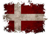 Denmark flag on old vintage paper in isolated white background