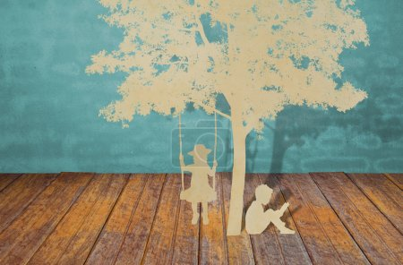 Photo for Paper cut of children read a book and children on swing under tree - Royalty Free Image