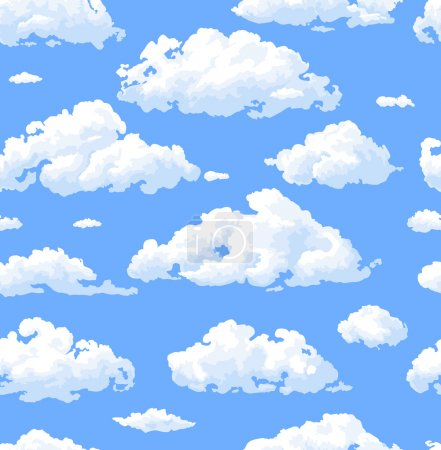 Illustration for Seamless pattern with white clouds - Royalty Free Image