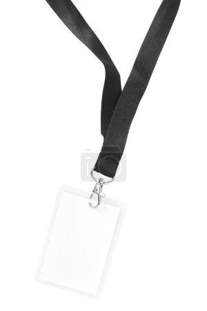 Photo pour Badge vierge ou carte d'identité isolé sur fond blanc, chemin de coupure inclus - image libre de droit