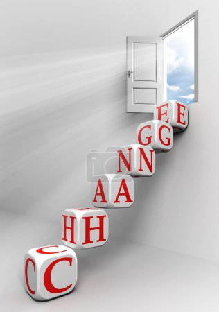 Photo pour Changer la porte conceptuelle avec le ciel et l'échelle de mot de boîte dans la métaphore de pièce blanche - image libre de droit