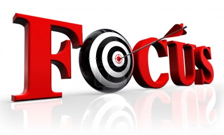 Photo for Focus red word and conceptual target with arrow reflect on white background - Royalty Free Image