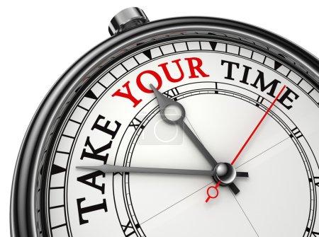 Photo pour Prenez votre horloge concept de temps isolé sur fond blanc avec chemin de coupe - image libre de droit