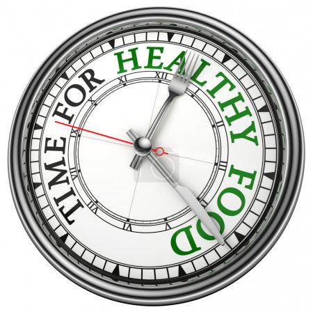 Photo for Time for healthy food concept clock closeup on white background with red and black words - Royalty Free Image