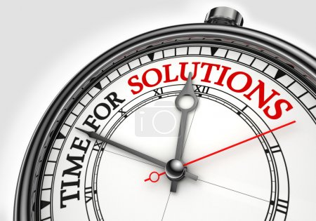 Photo for Time for solutions concept clock closeup on white background with red and black words - Royalty Free Image