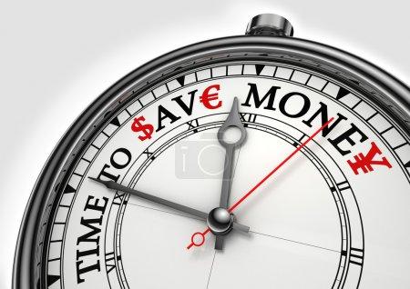 Foto de Tiempo para ahorrar dinero concepto reloj closeup sobre fondo blanco con rojos y negros palabras - Imagen libre de derechos