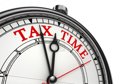 Tax time concept clock closeup isolated on white b...