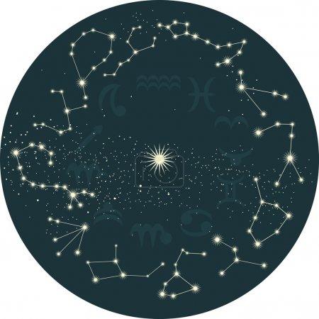 Illustration for Zodiac sky - Royalty Free Image