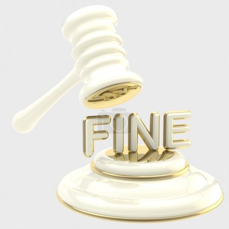 "Penalty: gavel breaking word ""fine"""
