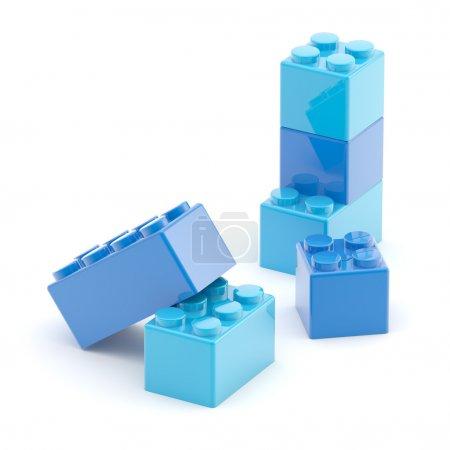 Toy construction brick blocks on white