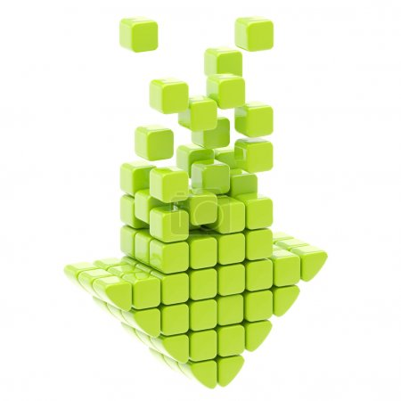 Download icon made of glossy cubes