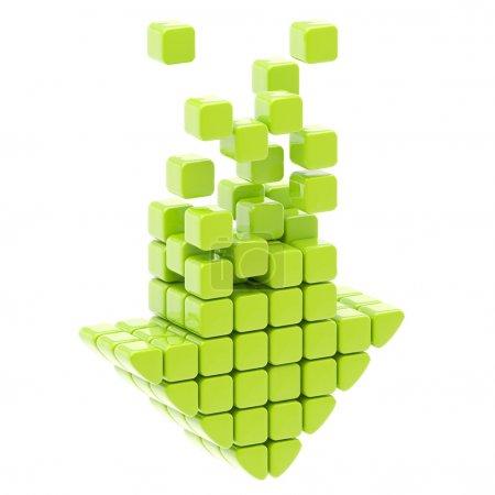 Photo pour Télécharger l'icône représentant une flèche faite de cubes de brillants verts isolés sur blanc - image libre de droit