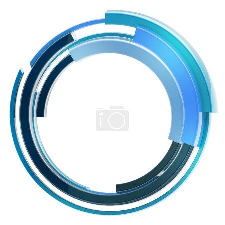 Photo pour Abstrait cadre techno rond brillant bordure isolée sur blanc - image libre de droit