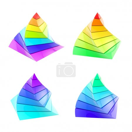 Set of four colorful segmented pyramid isolated