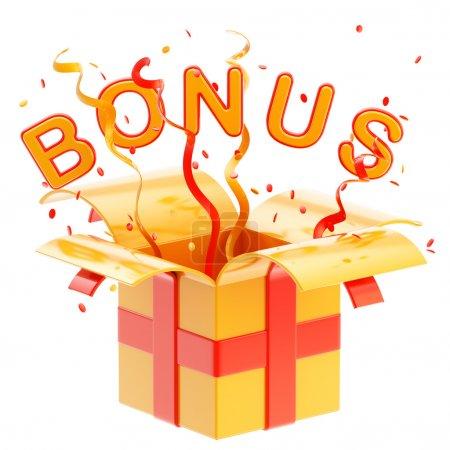 "Word ""bonus"" inside a gift box"