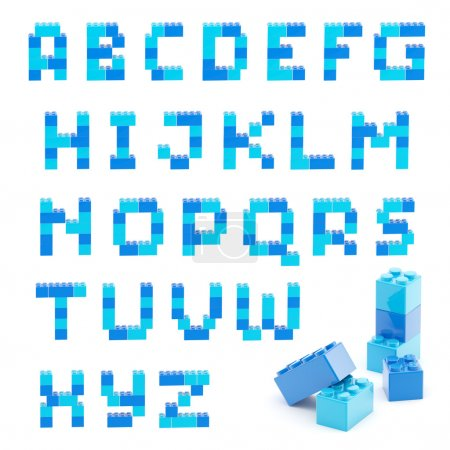 Photo for Alphabet set made of toy construction brick blocks isolated isolated on white - Royalty Free Image