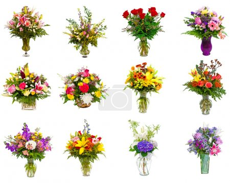 Collection of various colorful flower arrangements as bouquets in vases and baskets