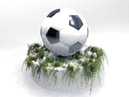 The football on a pedestal of grass
