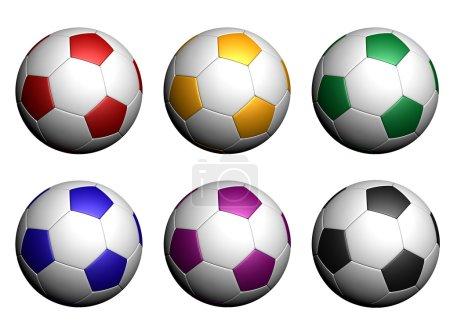 Photo pour Ballons rouges, jaune, vert, bleu, violet et noir sur fond blanc. - image libre de droit
