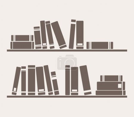 Books on the shelves vector simply retro illustration