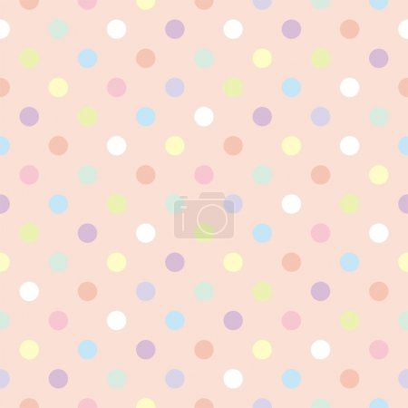Colorful dots, baby pink background retro seamless vector pattern
