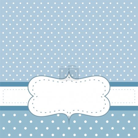 Illustration for Sweet, blue polka dots card or invitation. Cute background with white space to put your own text message. Cocktail party, birthday, baby shower, wedding or other - Royalty Free Image