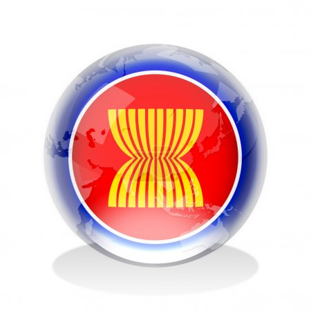 Photo pour Sphère de cristal de l'asean du pavillon avec la carte du monde - image libre de droit