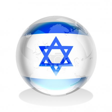 Photo for Crystal sphere of Israel flag with world map - Royalty Free Image