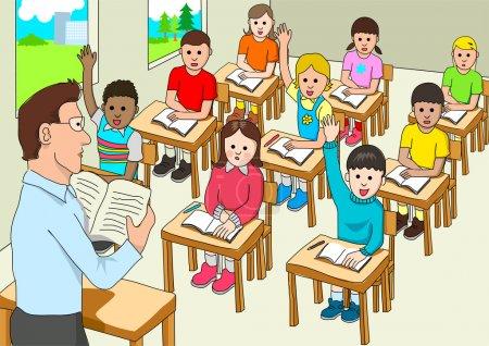 Illustration pour Vecteur de stock des élèves du primaire en classe - image libre de droit