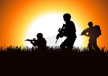 Silhouette illustration of soldiers on the field...