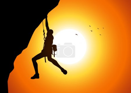 Illustration for Vector illustration of a man figure hanging on the cliff - Royalty Free Image