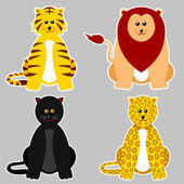 Cartoon illustration of felidae family