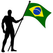 Vector illustration of a man holding the flag of Brazil