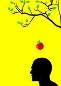 Vector illustration of an apple falling dawn to a human figure head