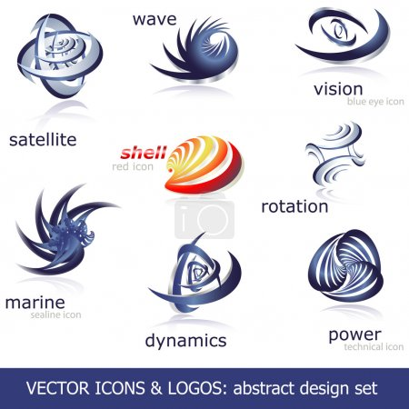 Illustration for Abstract design collection: vector icons & logos. - Royalty Free Image