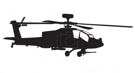 Illustration for Vector silhouette of AH-64 Apache Longbow helicopter - Royalty Free Image
