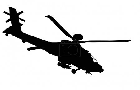 Illustration for Vector silhouette of AH-64 Apache Longbow helicopter . - Royalty Free Image