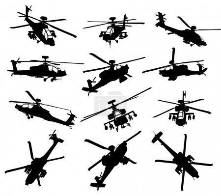 Illustration for AH-64 Apache Longbow helicopter silhouettes set. Vector on separate layers. - Royalty Free Image