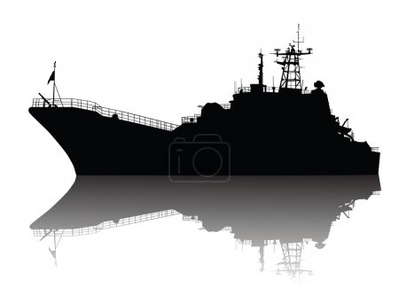 Soviet (russian) landing ship silhouette. Vector o...