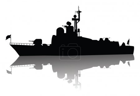 Soviet (russian) missile boat silhouette. Vector o...