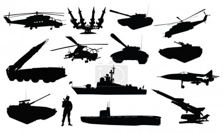 Military silhouettes set
