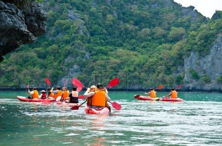 Traveler kayaking