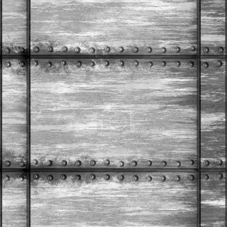 Photo pour Seamless texture métal usé avec rivets que carreaux comme un modèle dans n'importe quelle direction. - image libre de droit