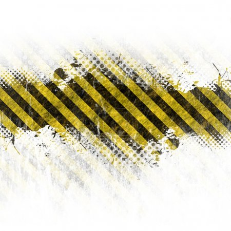 Photo for A hazard stripes background with grungy splatter isolated over white. - Royalty Free Image