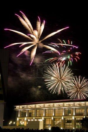 Photo pour Beaux feux d'artifice explosant sur un ciel de nuit noire. - image libre de droit