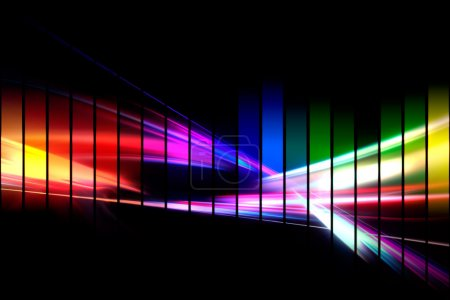 Photo for An abstract audio waveform illustrations in a rainbow color scheme isolated over black. - Royalty Free Image