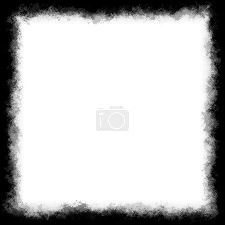 Photo pour Bordure carrée ou cadre noir et blanc avec bords grungy . - image libre de droit