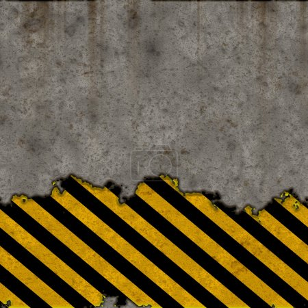 Hazard stripes torn wall