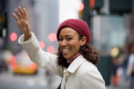Woman Hailing a Cab